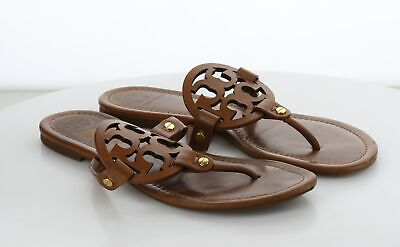 02-14 MSRP $198 Women's Size 9 M Tory Burch Miller Brown Leather Logo Sandal