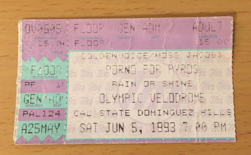 1993 PORNO FOR PYROS CAL STATE DOMINGUEZ HILLS CONCERT TICKET STUB PERRY FARRELL