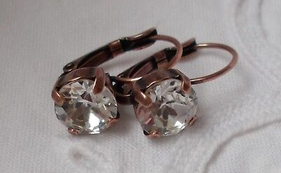 Copper Crystal Earrings - 8mm Cup Chain CRYSTAL/ANTIQUE COPPER LEVERBACK EARRINGS w/Swarovski Crystals