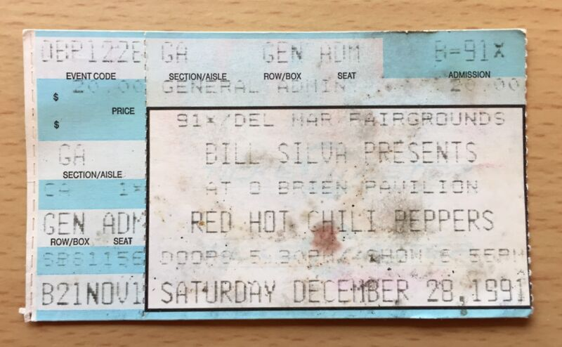 1991 NIRVANA PEARL JAM RED HOT CHILI PEPPERS DEL MAR CONCERT TICKET STUB RHCP 1