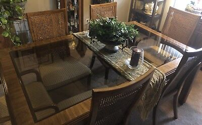 Vintage Drexel dining table with 2 glass inserts~6 cane back chairs and 2