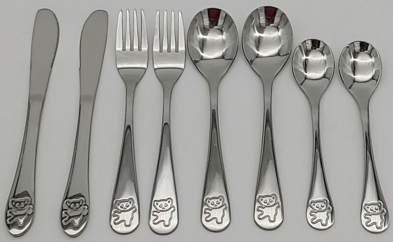 ​8 Piece Stainless Steel Kids Cutlery Utensil Set