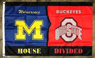 """Michigan Wolverines vs Ohio State Buckeyes """"House Divided"""" FLAG 3x5 ft Banner"""