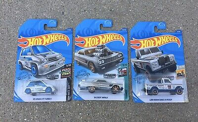 2020 Hot Wheels Honda City Turbo II, Impala, Land Rover ZAMAC
