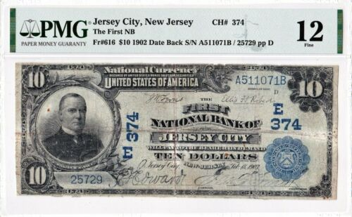 """$10 1902 DB National JERSEY CITY New Jersey NJ """"Discovery Note"""" ((Only 1 Known))"""