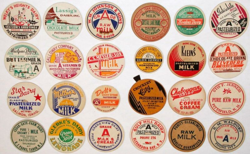 Vintage milk bottle caps LOT OF 24 DIFFERENT originals #8 unused new old stock