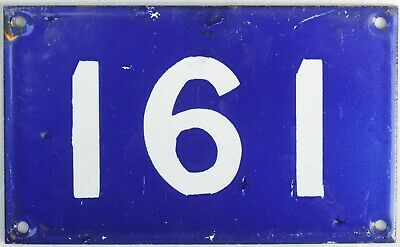 Old Australian used house number 161 door gate enamel metal sign in French blue