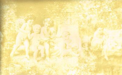 Architectural Antique Baby Angels Romanesque Cherub Cream Beige Wallpaper Border
