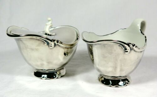 Antique TIRSCHENREUTH Silver Overlay Porcelain Sugar + Creamer BAVARIA Germany