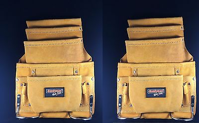 2 Pack    10 Pocket Carpenter Electrician Nail   Tool Bag Belt Leather Yellow