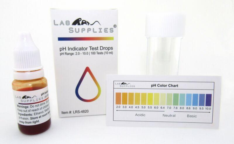 pH Indicator Test Drops, Universal Application (pH 2.0-10.0), 100 Tests (10 ml)