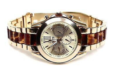 Burgi Women's Multi Function Gold Tone Tortoise Watch 0287