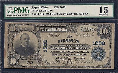 Piqua, Ohio, Charter #1006, Series1902, $10.00 Plain Back, 20 Notes Reported! ()