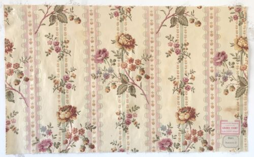Beautiful 19th C. French Printed Floral Cotton Fabric   (2414)