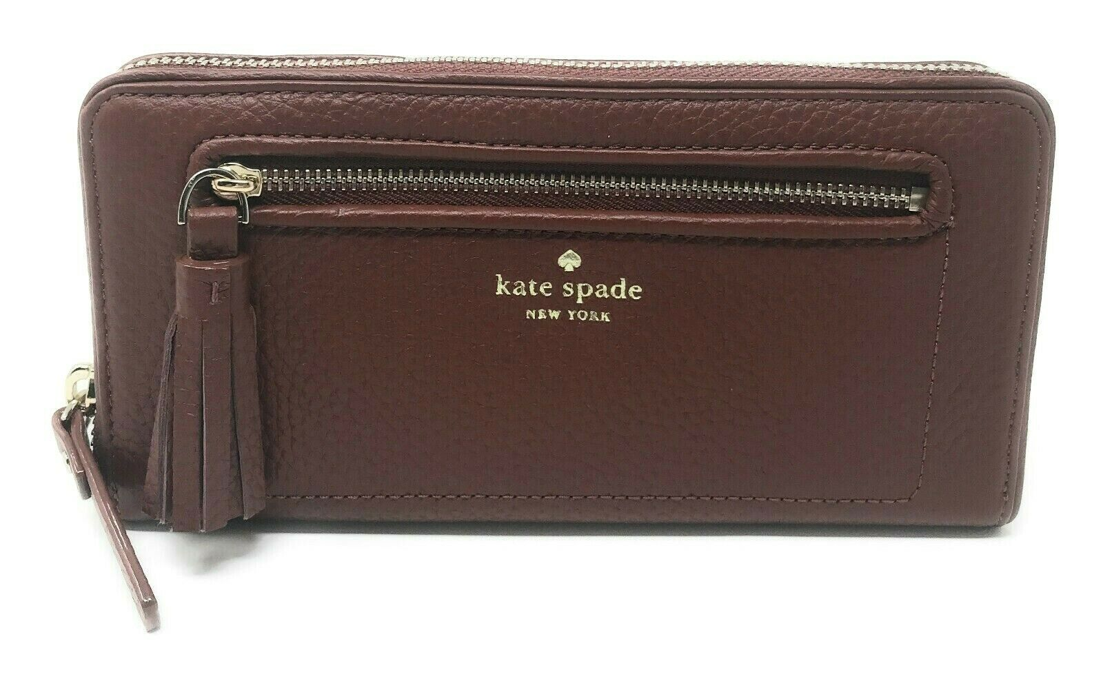 Kate Spade Chester Street Neda Port Brown Zip Around Wallet WLRU2654 Clothing, Shoes & Accessories