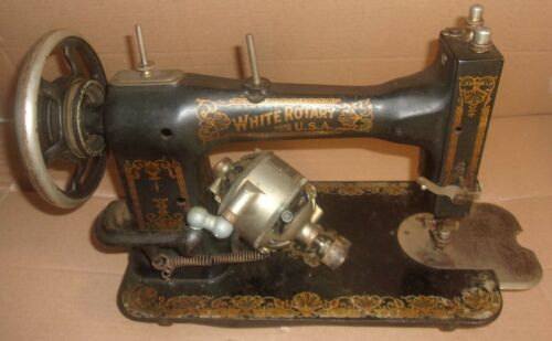 ANTIQUE WHITE ROTARY SEWING MACHINE HEAD WITH MOTOR TURNS NICELY FOR PARTS