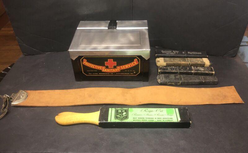 Vintage Barber Shop lot Nu-Vita Sterilizer Razor Sharpener Leather Strop