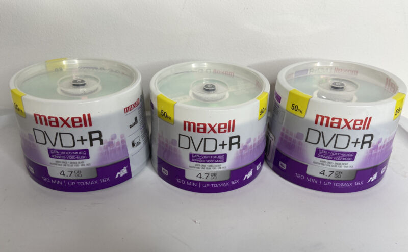 Lot Of 3 New MAXELL DVD+R 50 Packs Recordable Discs 16x Speed 120 Mins 4.7 Gb