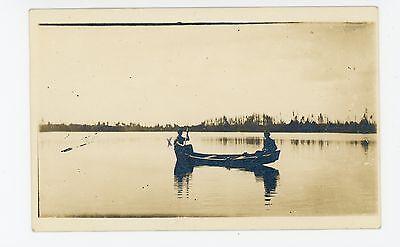 Men Canoeing in Wisconsin RPPC Viroqua-Estate Photo—Canoe Boat 1910s