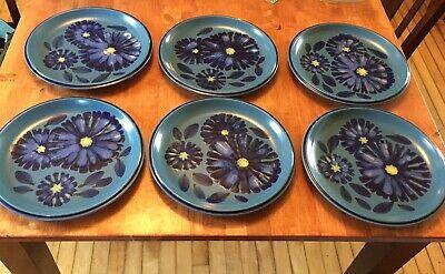 6 Vintage NORITAKE IRONSTONE Blue Twilight Flowers FOLKSTONE DINNER PLATES 8512