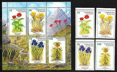 TAJIKISTAN SC 121-5 +124a  NH issue of 1998 Flowers - set+S/S+M/S