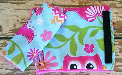 pink owls and pink minky car seat strap covers for infants and toddlers