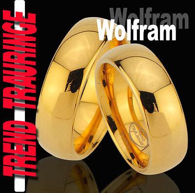 2 Partner Ringe Wolfram Tungsten IP Gold Platiert Trauringe Gravur Gratis * TW30