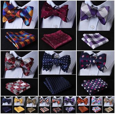 Hisdern Mens Silk Self Bow Tie Check Polka Dot Floral Jacquard Handkerchief - Dot Silk Tie