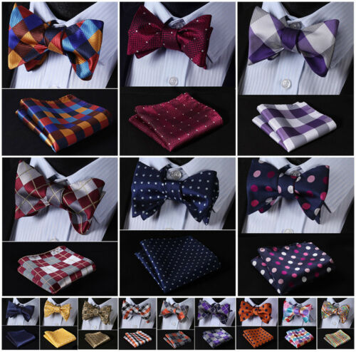 Купить HISDERN - Hisdern Mens Silk Self Bow Tie Check Polka Dot Floral Jacquard Handkerchief Set