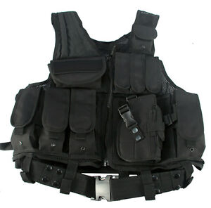 Black Tactical Vest  / Combat Assault Airsoft Army Molle Attachment Rig Top