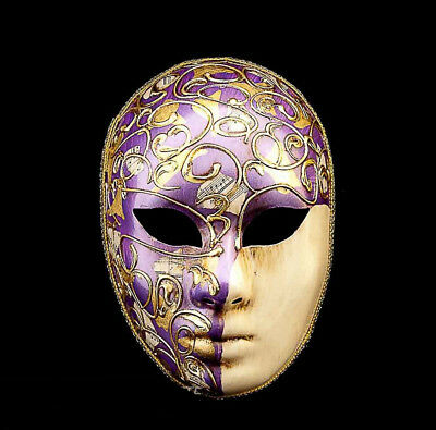 Mask from Venice Volto Purple and Golden -mask Gala Evening Prom 782 V41