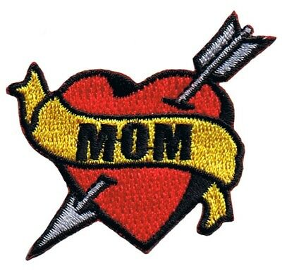 Mom Tattoo Patch - Arrow Through Heart, I Love Mom (Iron on)