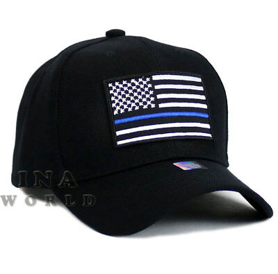 Blue Police Hat (USA Flag hat POLICE THIN BLUE LINE SUPPORT LAW ENFORCEMENT Baseball cap-)
