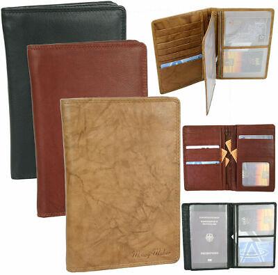 Leder Reise-brieftasche (Große Leder Brieftasche ReiseEtui mit Pass-Fach und viele Kartenfächern)