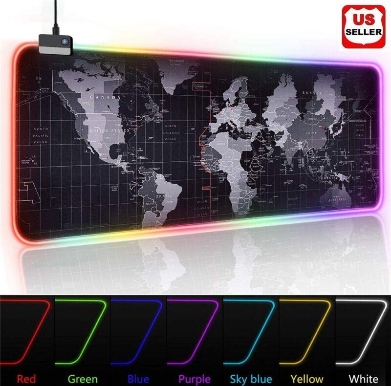RGB LED Extra Large Soft Gaming Mouse Pad Oversized Glowing World Map 31.5x12