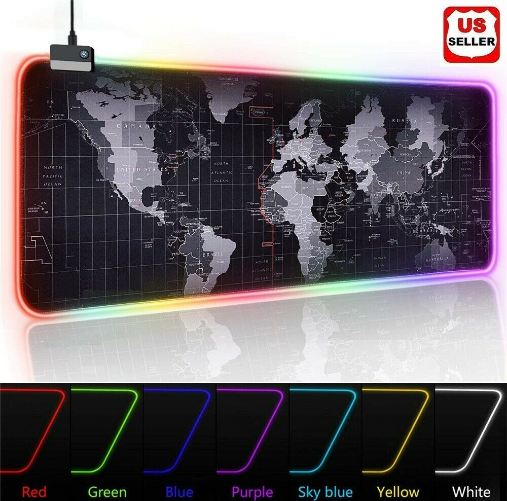 """RGB LED Extra Large Soft Gaming Mouse Pad Oversized Glowing World Map 31.5×12"""" Computers/Tablets & Networking"""