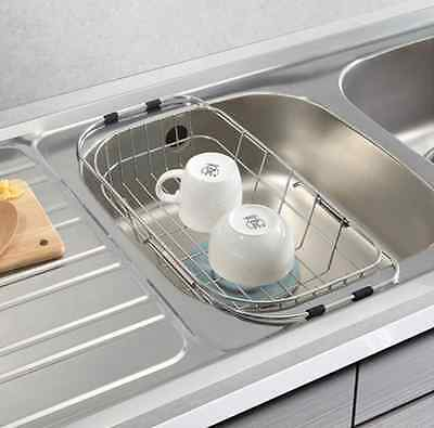 Stainless Steel Dish Cup Drying Rack Half Slide Sink Tray Basket [Stopia]