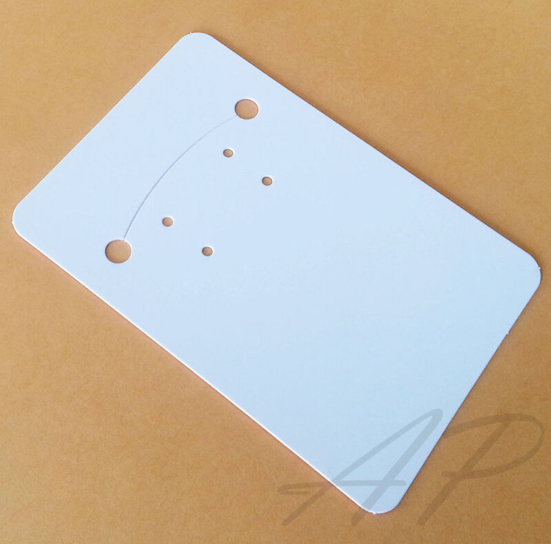 100 Blank Glossy White Necklace Earrings Paper Display Card Jewelry Packaging