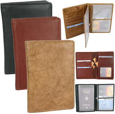 Leder Reise-brieftasche (Große Leder Brieftasche ReiseEtui mit Pass-Fach und viele Kartenfächern 3-farben)