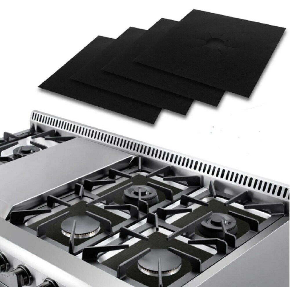 4 Pcs Gas Range Stove Top Burner Protector Reusable Liner Clean  Non-stick Cover Home & Garden