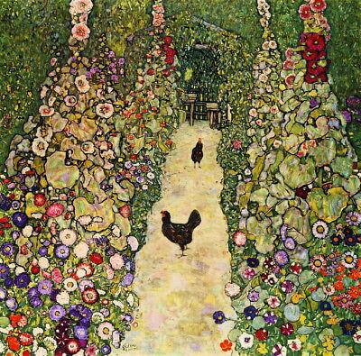 Gustav Klimt Garden Path with Chickens Giclee Paper Print Poster (Gustav Klimt Garden)