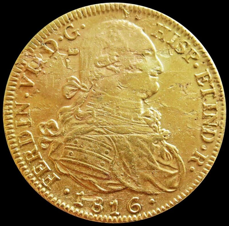 1816 FJ GOLD CHILE 8 ESCUDOS SALVAGE COIN SALTWATER EFFECT UNC DETAILS*