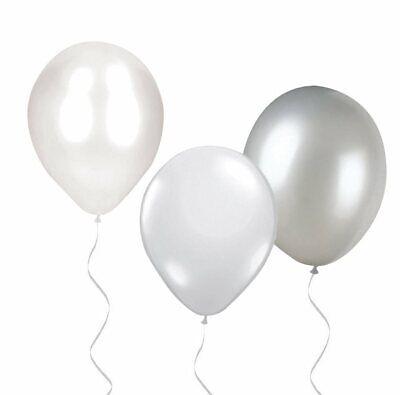 30x Luftballons Deckenballons Weiß Perlmutt Silber | Partydeko Dekoration Ballon