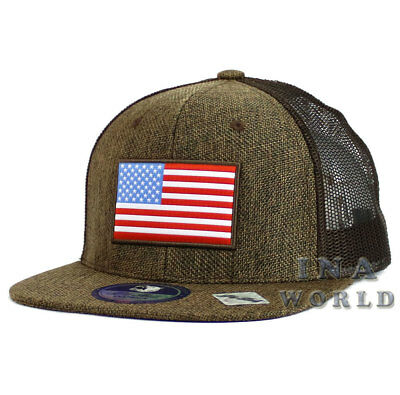 USA American Flag hat Stars and Stripes Linen Mesh Snapback Baseball cap- Brown