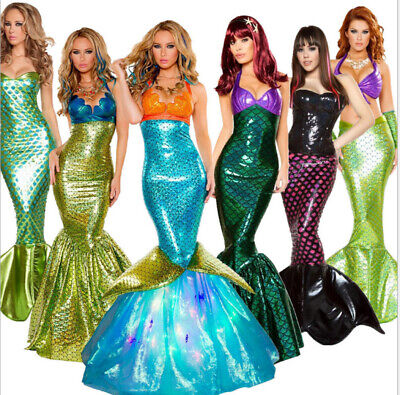 Ariel Costumes Adults (Womens Halloween Sequin Mermaid Costume Adult Ariel Princess Cosplay Fancy)