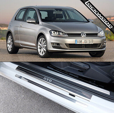VW Golf Mk7 GTD (Released 2013) 2 Door Stainless Sill Protectors / Kick Plates
