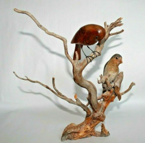 Hand Carved Wood Birds on Driftwood Sculpture ~ Signed by Artist K.E. Carl 1979
