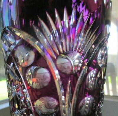 Pope John Paul, 11 Inch Amethyst Purple Cut To Clear Vase Near Excellent - $99.15