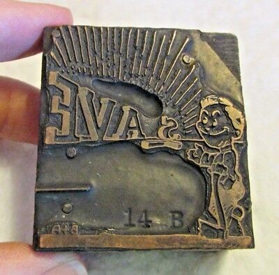 Vintage Atq Copper Wood Printing Block Save Man Advertising Cartoon