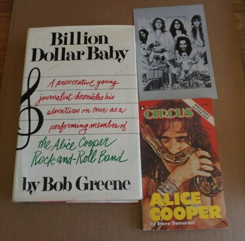 ALICE COOPER BILLION DOLLAR BABY 1ST EDITION BOOK by GREENE & CIRCUS + POSTCARD